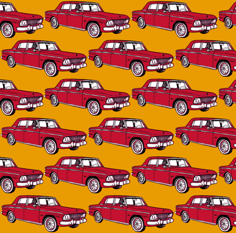 1964 Studebaker Lark Daytona family sedan, red on gold fabric by edsel2084 on Spoonflower - custom fabric