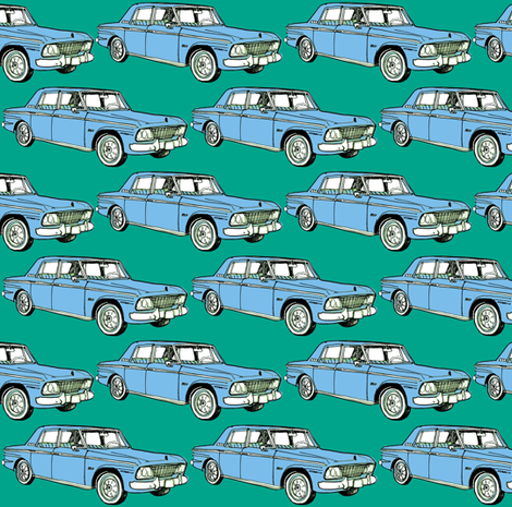 pale blue 1964 1965 Studebaker Lark Cruiser on teal background fabric by edsel2084 on Spoonflower - custom fabric