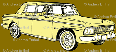1964 1965 Studebaker Lark Daytona in yellow on gold background