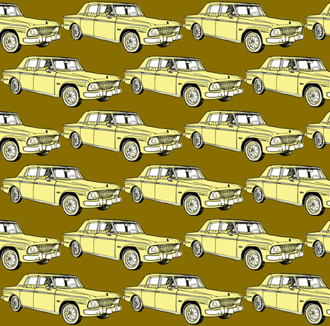 1964 1965 Studebaker Lark Daytona in yellow on gold background fabric by edsel2084 on Spoonflower - custom fabric
