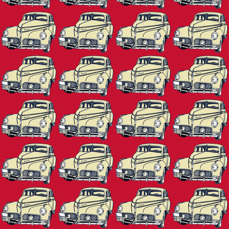 cream 1940-41 Studebaker on red background fabric by edsel2084 on Spoonflower - custom fabric