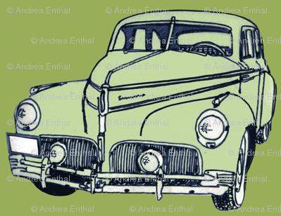 pale green 1940-41 Studebaker on olive background