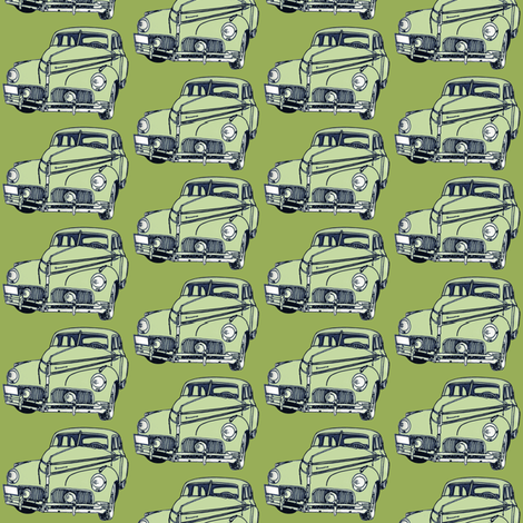 pale green 1940-41 Studebaker on olive background fabric by edsel2084 on Spoonflower - custom fabric