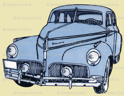 light blue 1940-41 Studebaker on cream background