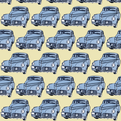 light blue 1940-41 Studebaker on cream background fabric by edsel2084 on Spoonflower - custom fabric