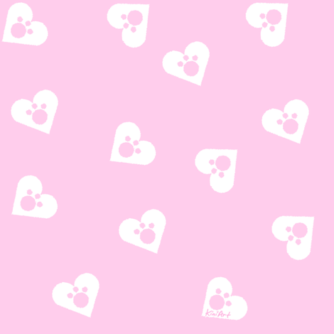 Pink Paws fabric by kiniart on Spoonflower - custom fabric
