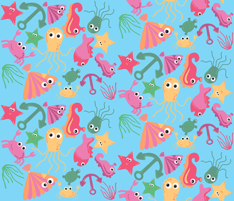 sea creatures  2 fabric by jlwillustration on Spoonflower - custom fabric