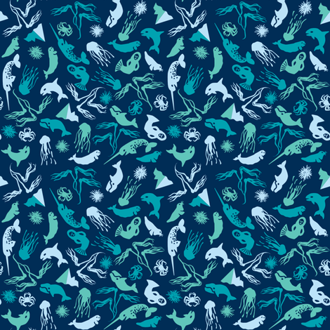 Arctic Ditsy Sea Creatures - Deep Sea fabric by aldea on Spoonflower - custom fabric