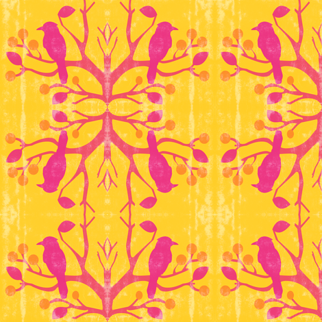 birds-n-berries bright fabric by amy_frances_designs on Spoonflower - custom fabric