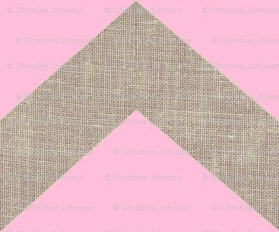 chevron burlap / pink