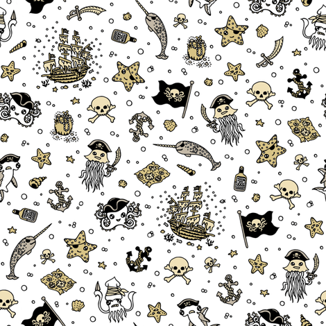 Ditsy Pirates White fabric by teja_jamilla on Spoonflower - custom fabric