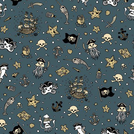 Ditsy Pirates Blue fabric by teja_jamilla on Spoonflower - custom fabric