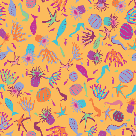 Ditsy_Sea_Creatures_Paloma fabric by paloma_le_sage on Spoonflower - custom fabric