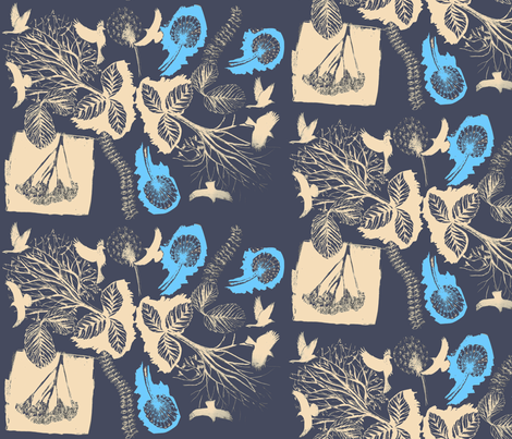 night birds in the trees fabric by sary on Spoonflower - custom fabric