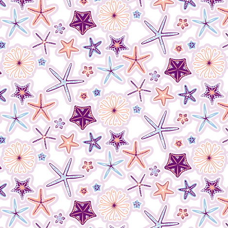 Ditsy_Starfish fabric by niceandfancy on Spoonflower - custom fabric