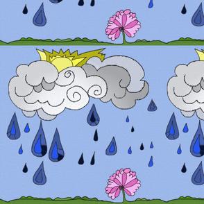 Rain cloud with flower