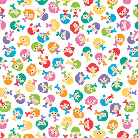 Ditsy mermaids fabric by petitspixels on Spoonflower - custom fabric