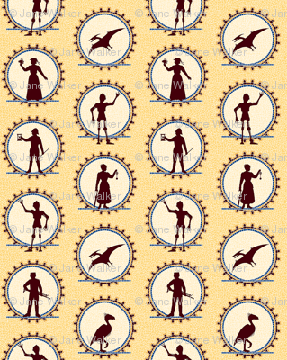 Steampunk Victorian Character Silhouettes -- Tiny version  ©2012 by Jane Walker