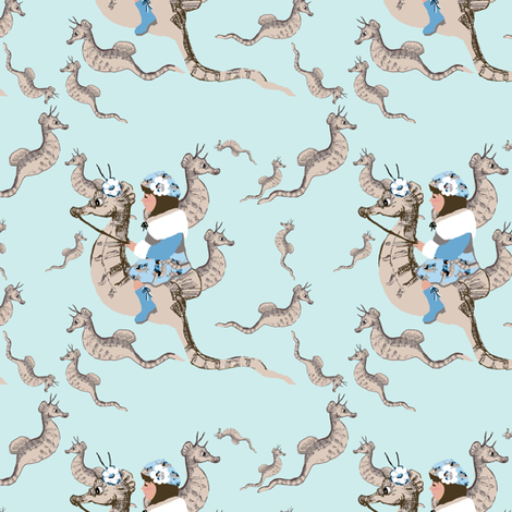 Princess Ashley and the magical seahorses fabric by karenharveycox on Spoonflower - custom fabric