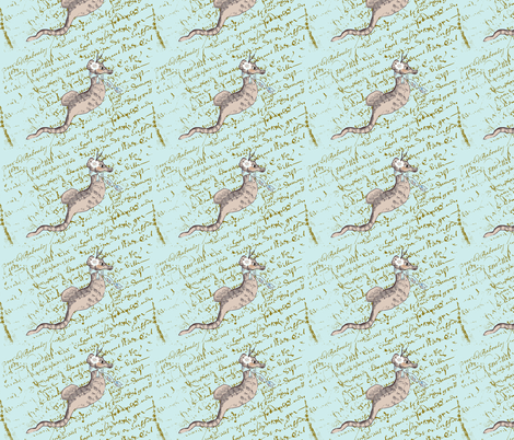 Simone Seahorse on Tiffany Blue French Script fabric by karenharveycox on Spoonflower - custom fabric