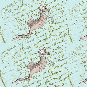 Simone Seahorse on Tiffany Blue French Script