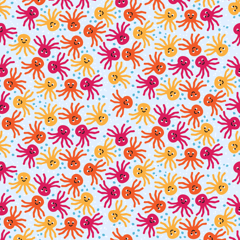 Octopus Pattern Fabric Ditsy Octopus Fabric by