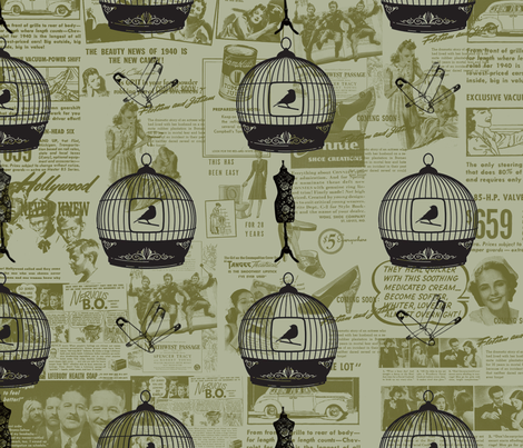 cage_birds_vintage_fabric_2_ fabric by badiem on Spoonflower - custom fabric