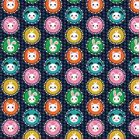 Pets and polka dots fabric by irrimiri on Spoonflower - custom fabric