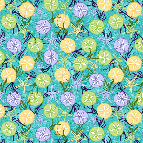 Sea Gifts Wrapped in Ribbons of Seagrass fabric by inscribed_here on Spoonflower - custom fabric