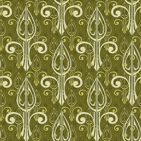 fleurdelis-pjr2_triple_olive fabric by glimmericks on Spoonflower - custom fabric