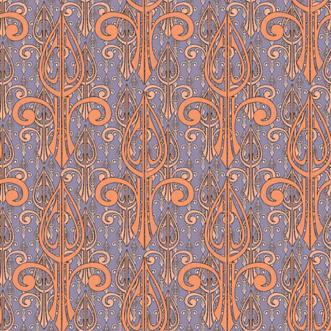fleurdelis-pjr2_triple_smoked_salmon fabric by glimmericks on Spoonflower - custom fabric