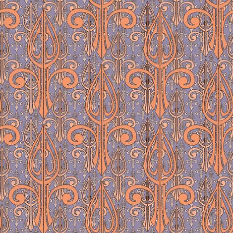 fleurdelis-pjr2_triple_smoked_salmon fabric by glimmericks on Spoonflower - custom fabric