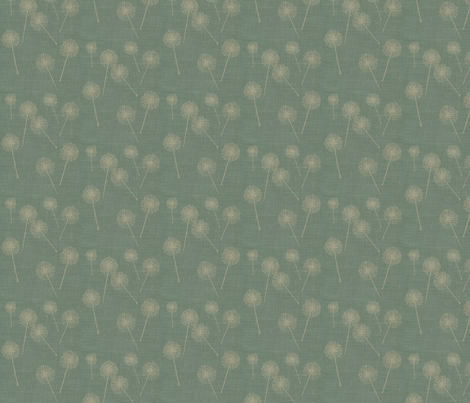 Dandilion on Vintage Robins Egg Blue Burlap fabric by retrofiedshop on Spoonflower - custom fabric