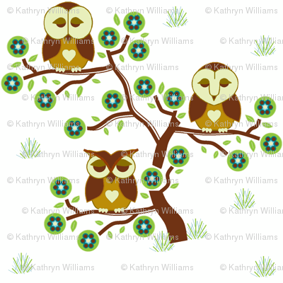 Sleepy brown Owls sitting in a tree