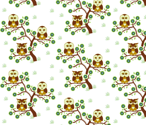 Sleepy brown Owls sitting in a tree fabric by elizabethjones on Spoonflower - custom fabric