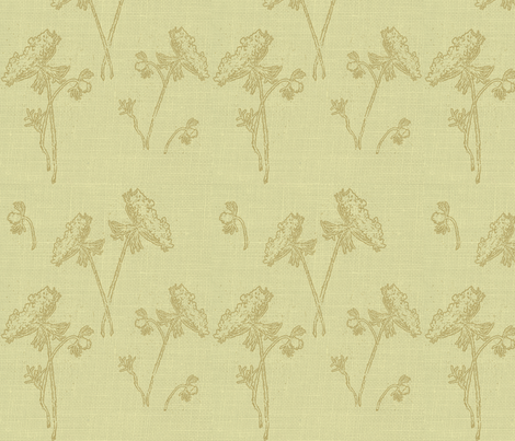 Queen ann on vintage yellow fabric by retrofiedshop on Spoonflower - custom fabric