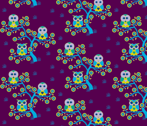 3 little owls wide awake fabric by squeakyangel on Spoonflower - custom fabric