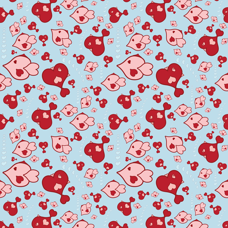 Heart Fish fabric by dollyw on Spoonflower - custom fabric