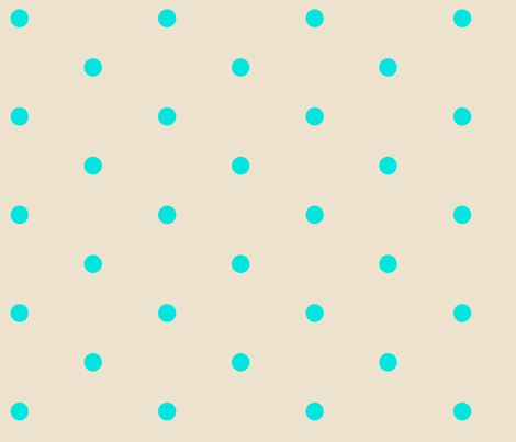 Wider Aqua Dots on Cream fabric by jennyf on Spoonflower - custom fabric