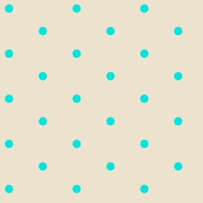 Wider Aqua Dots on Cream