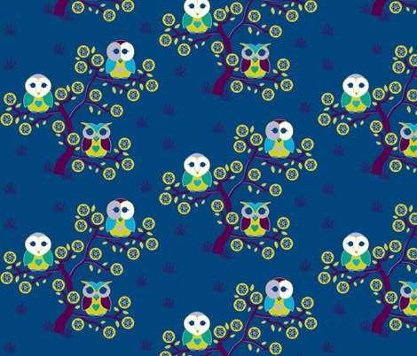 Wide awake owls on a blue night fabric by squeakyangel on Spoonflower - custom fabric