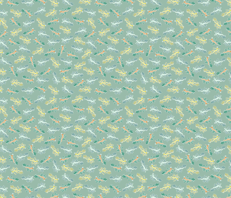 Ditsy Leafy Sea Dragons fabric by madex on Spoonflower - custom fabric