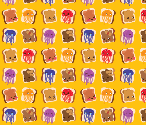 Peanut Butter & Jellyfish Sandwiches! fabric by mayenedesign on Spoonflower - custom fabric