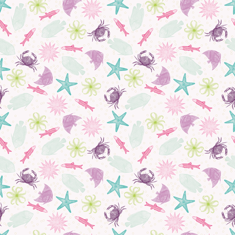 miniSEAlife fabric by natasha_k_ on Spoonflower - custom fabric