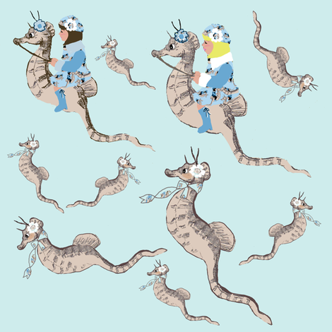 Seahorse Race fabric by karenharveycox on Spoonflower - custom fabric