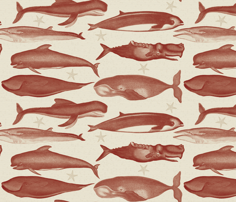whales_burgundy fabric by natasha_k_ on Spoonflower - custom fabric