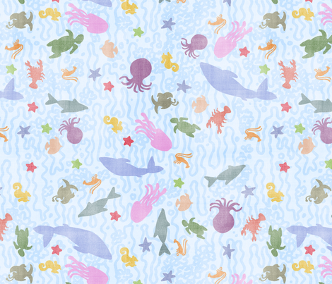 baby sea creatures fabric by creativebrenda on Spoonflower - custom fabric