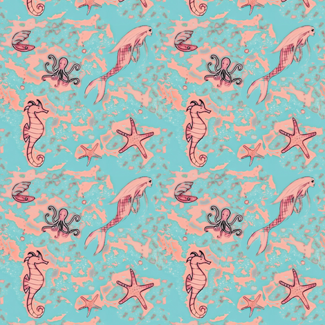 Dream into the sea fabric by lucybaribeau on Spoonflower - custom fabric