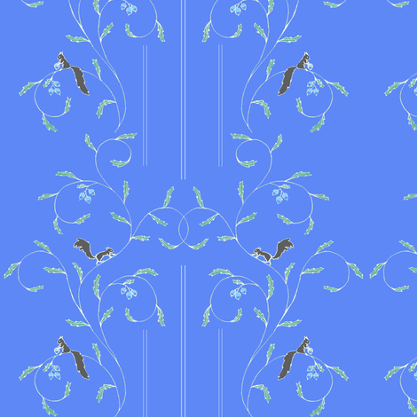 squirrel vine blue fabric by atomic_bloom on Spoonflower - custom fabric