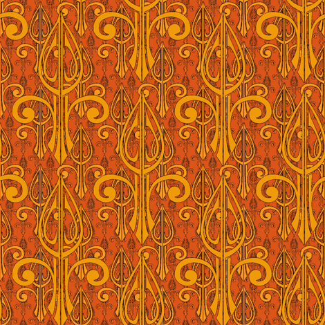 fleurdelis-pjr2_triple_tangerine flame fabric by glimmericks on Spoonflower - custom fabric